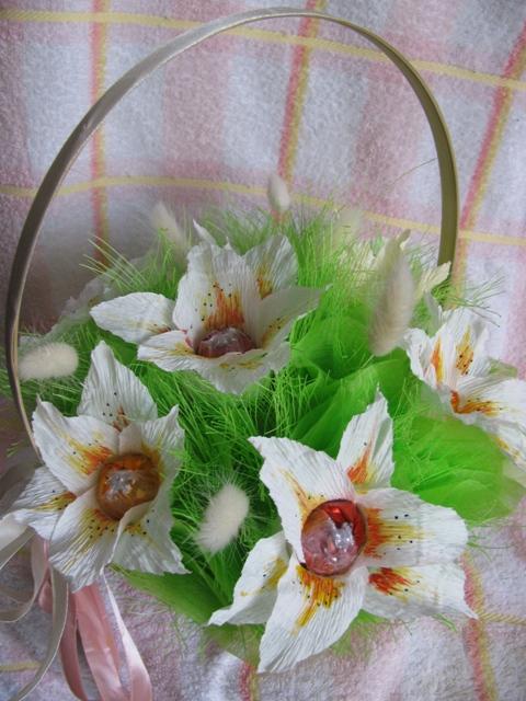 Цветок из флористической сетки своими руками