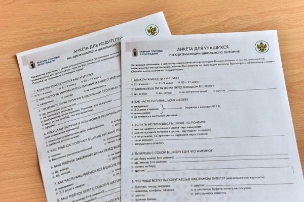 Анкета для родителей по организации школьного питания